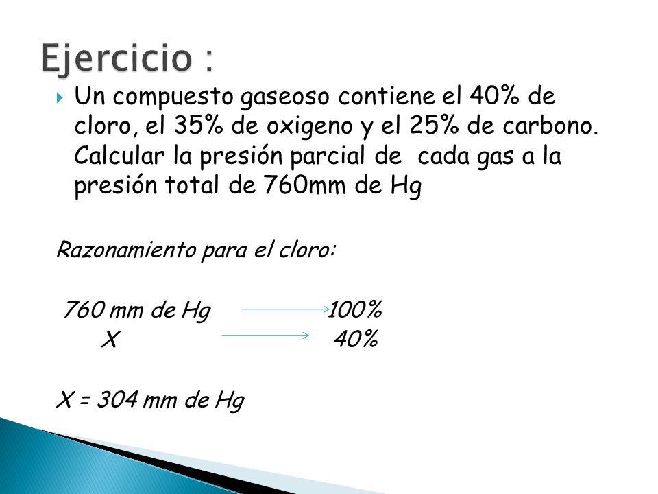 Un compuesto gaseoso contiene el 40% de cloro, el 35% de oxigeno y el 25% de carbono. Calcular la presión parcial de cada gas a la presión total de 76