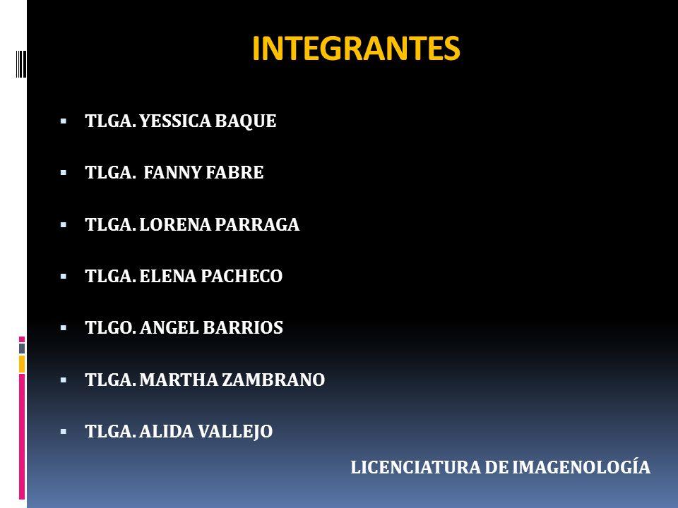 INTEGRANTES TLGA. YESSICA BAQUE TLGA. FANNY FABRE TLGA. LORENA PARRAGA TLGA. ELENA PACHECO TLGO. ANGEL BARRIOS TLGA. MARTHA ZAMBRANO TLGA. ALIDA VALLE