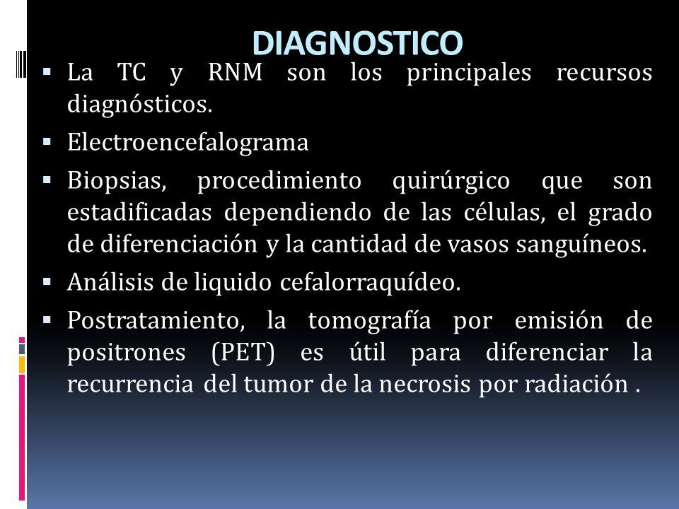DIAGNOSTICO La TC y RNM son los principales recursos diagnósticos. Electroencefalograma Biopsias, procedimiento quirúrgico que son estadificadas depen