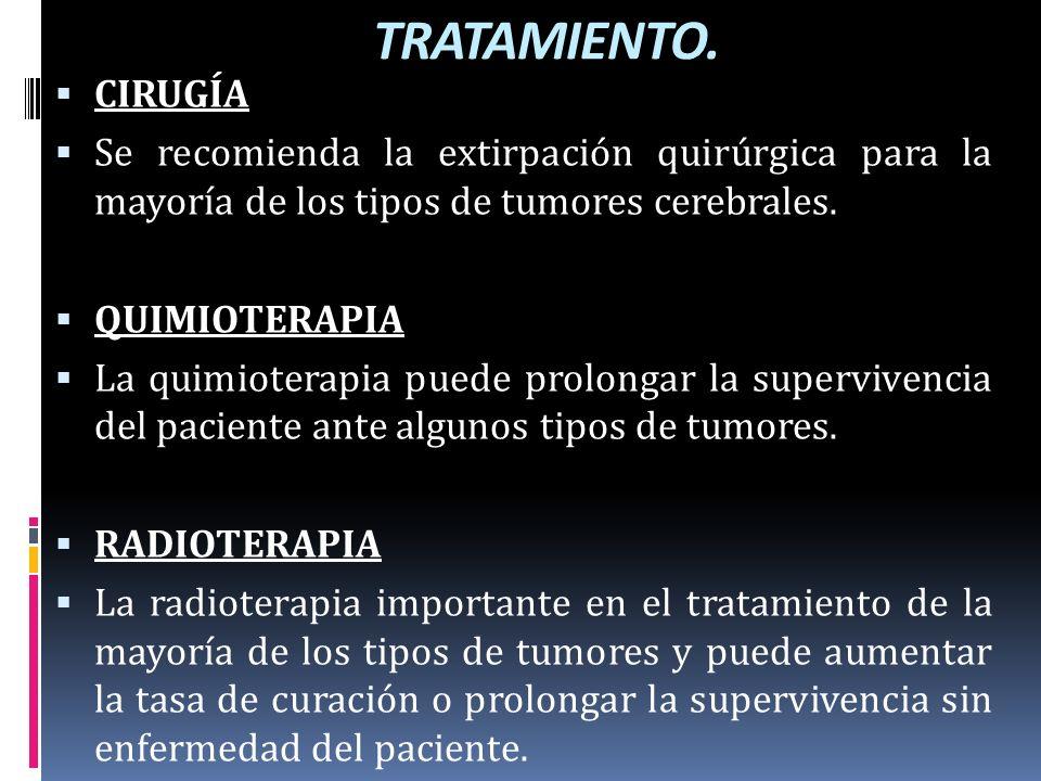 TRATAMIENTO. CIRUGÍA Se recomienda la extirpación quirúrgica para la mayoría de los tipos de tumores cerebrales. QUIMIOTERAPIA La quimioterapia puede