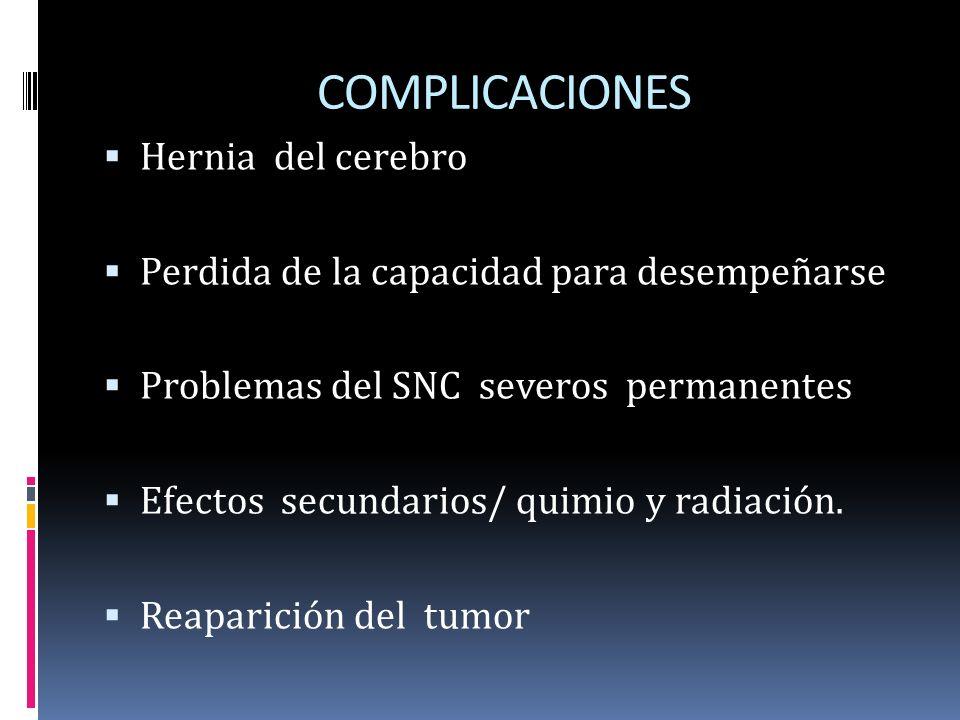 COMPLICACIONES Hernia del cerebro Perdida de la capacidad para desempeñarse Problemas del SNC severos permanentes Efectos secundarios/ quimio y radiac