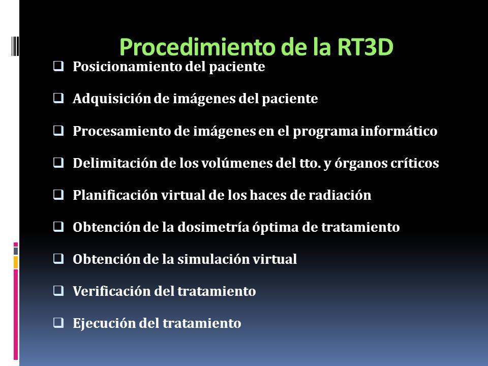 Procedimiento de la RT3D Posicionamiento del paciente Adquisición de imágenes del paciente Procesamiento de imágenes en el programa informático Delimi