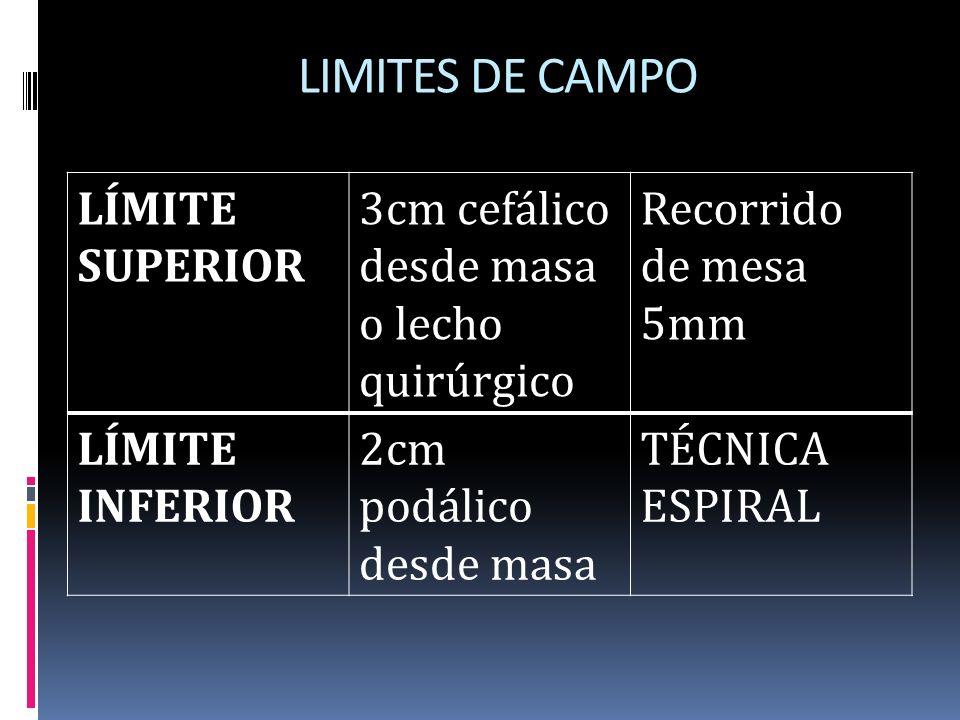 LIMITES DE CAMPO LÍMITE SUPERIOR 3cm cefálico desde masa o lecho quirúrgico Recorrido de mesa 5mm LÍMITE INFERIOR 2cm podálico desde masa TÉCNICA ESPI