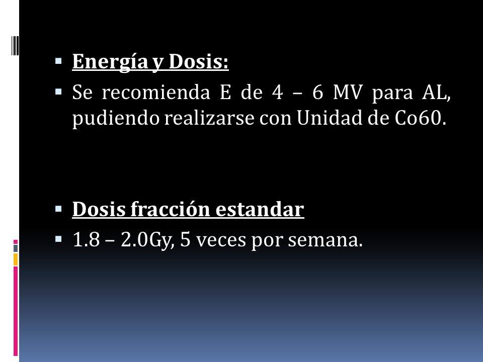 Energía y Dosis: Se recomienda E de 4 – 6 MV para AL, pudiendo realizarse con Unidad de Co60. Dosis fracción estandar 1.8 – 2.0Gy, 5 veces por semana.