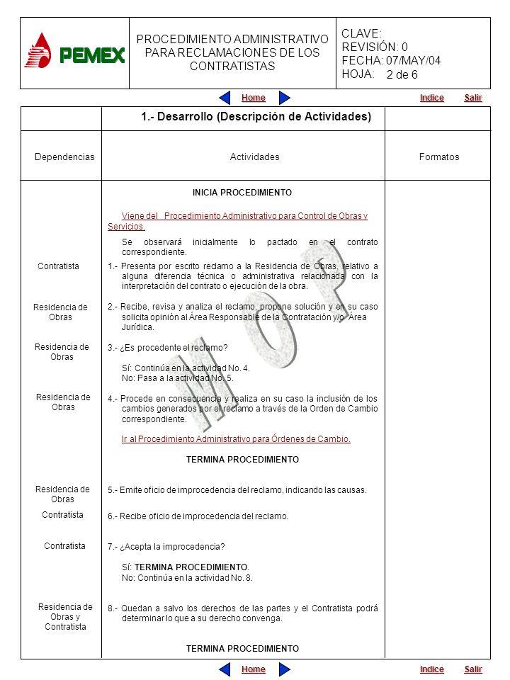 Home Salir Indice Home Salir Indice PROCEDIMIENTO ADMINISTRATIVO PARA RECLAMACIONES DE LOS CONTRATISTAS CLAVE: REVISIÓN: 0 FECHA: 07/MAY/04 HOJA: Actividades 1.- Desarrollo (Descripción de Actividades) Dependencias INICIA PROCEDIMIENTO Viene del Procedimiento Administrativo para Control de Obras y Servicios.