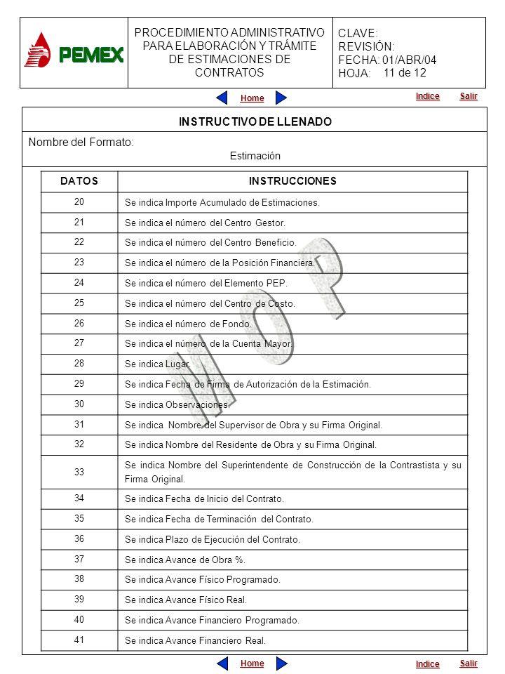 Home Salir Indice PROCEDIMIENTO ADMINISTRATIVO PARA ELABORACIÓN Y TRÁMITE DE ESTIMACIONES DE CONTRATOS CLAVE: REVISIÓN: FECHA: 01/ABR/04 HOJA: 11 de 1