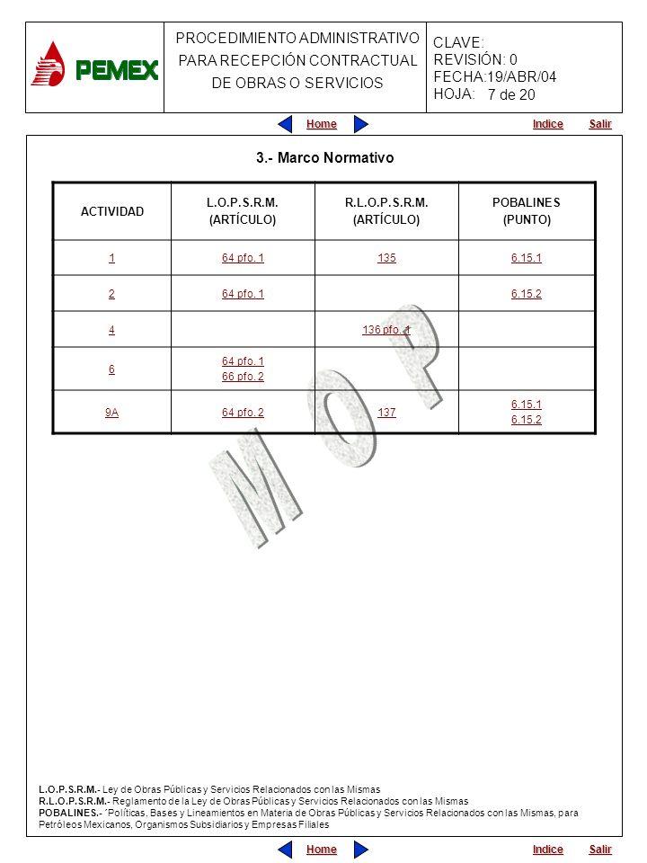 Home Salir Indice Home Salir Indice PROCEDIMIENTO ADMINISTRATIVO PARA RECEPCIÓN CONTRACTUAL DE OBRAS O SERVICIOS CLAVE: REVISIÓN: 0 FECHA:19/ABR/04 HO