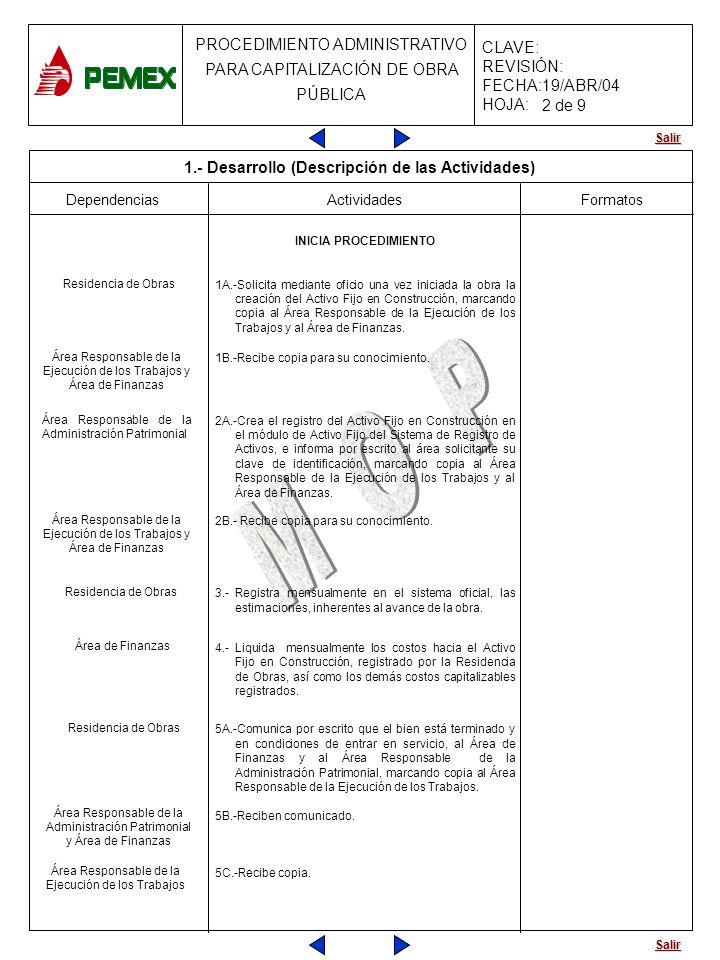 Salir PROCEDIMIENTO ADMINISTRATIVO PARA CAPITALIZACIÓN DE OBRA PÚBLICA CLAVE: REVISIÓN: FECHA:19/ABR/04 HOJA: Dependencias Actividades 6A.-Solicita mediante oficio la creación del Activo Fijo terminado, marcando copia al Área Responsable de la Ejecución de los Trabajos y al Área de Finanzas.