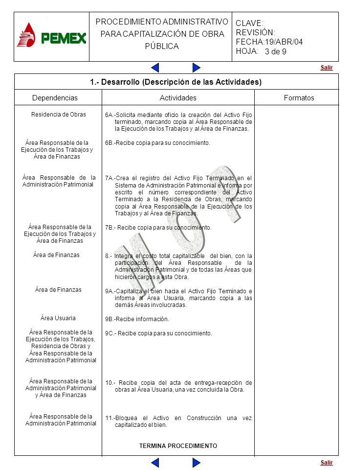 Salir PROCEDIMIENTO ADMINISTRATIVO PARA CAPITALIZACIÓN DE OBRA PÚBLICA CLAVE: REVISIÓN: FECHA:19/ABR/04 HOJA: Dependencias Actividades 6A.-Solicita me