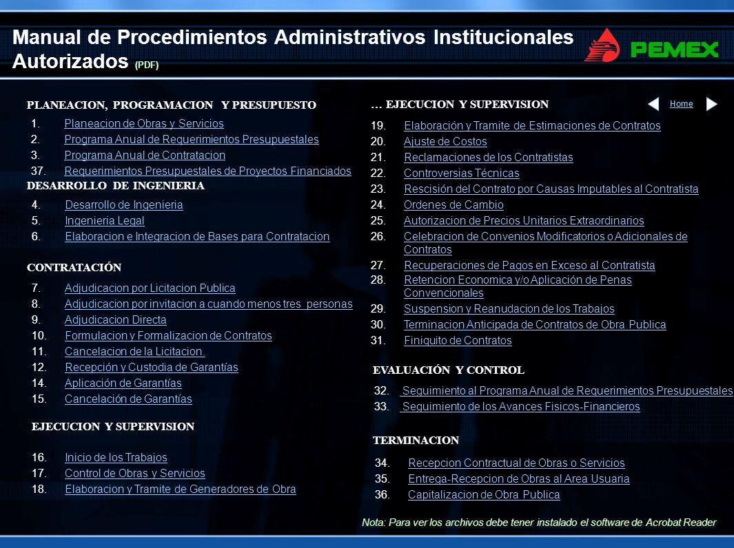 Manual de Procedimientos Administrativos Institucionales Autorizados (PowerPoint) Nota: Para ver los archivos debe tener instalado el software de Acrobat Reader PLANEACION, PROGRAMACION Y PRESUPUESTO 1.Planeación de Obras y ServiciosPlaneación de Obras y Servicios 2.Programa Anual de Requerimientos PresupuestalesPrograma Anual de Requerimientos Presupuestales 3.Programa Anual de ContrataciónPrograma Anual de Contratación 37.Requerimientos Presupuestales de Proyectos FinanciadosRequerimientos Presupuestales de Proyectos Financiados DESARROLLO DE INGENIERIA 4.Desarrollo de IngenieríaDesarrollo de Ingeniería 5.Ingeniería LegalIngeniería Legal 6.Elaboración e Integración de Bases para ContrataciónElaboración e Integración de Bases para Contratación … EJECUCION Y SUPERVISION 28.Retención Económica y/o Aplicación de Penas ConvencionalesRetención Económica y/o Aplicación de Penas Convencionales 29.Suspensión y Reanudación de los TrabajosSuspensión y Reanudación de los Trabajos 30.Terminación Anticipada de Contratos de Obra PúblicaTerminación Anticipada de Contratos de Obra Pública 31.Finiquito de ContratosFiniquito de Contratos CONTRATACIÓN 19.Elaboración y Trámite de Estimaciones de ContratosElaboración y Trámite de Estimaciones de Contratos 20.Ajuste de CostosAjuste de Costos 21.Reclamaciones de los ContratistasReclamaciones de los Contratistas 22.Controversias TécnicasControversias Técnicas 23.Rescisión del Contrato por Causas Imputables al ContratistaRescisión del Contrato por Causas Imputables al Contratista 24.Órdenes de CambioÓrdenes de Cambio 25.Autorización de Precios Unitarios ExtraordinariosAutorización de Precios Unitarios Extraordinarios 26.Celebración de Convenios Modificatorios o Adicionales de ContratosCelebración de Convenios Modificatorios o Adicionales de Contratos 27.Recuperaciones de Pagos en Exceso al ContratistaRecuperaciones de Pagos en Exceso al Contratista TERMINACION Home 34.Recepción Contractual de Obras o ServiciosRecepción Contractual de Obras