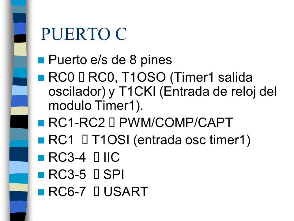 PUERTO C Puerto e/s de 8 pines RC0 RC0, T1OSO (Timer1 salida oscilador) y T1CKI (Entrada de reloj del modulo Timer1). RC1-RC2 PWM/COMP/CAPT RC1 T1OSI