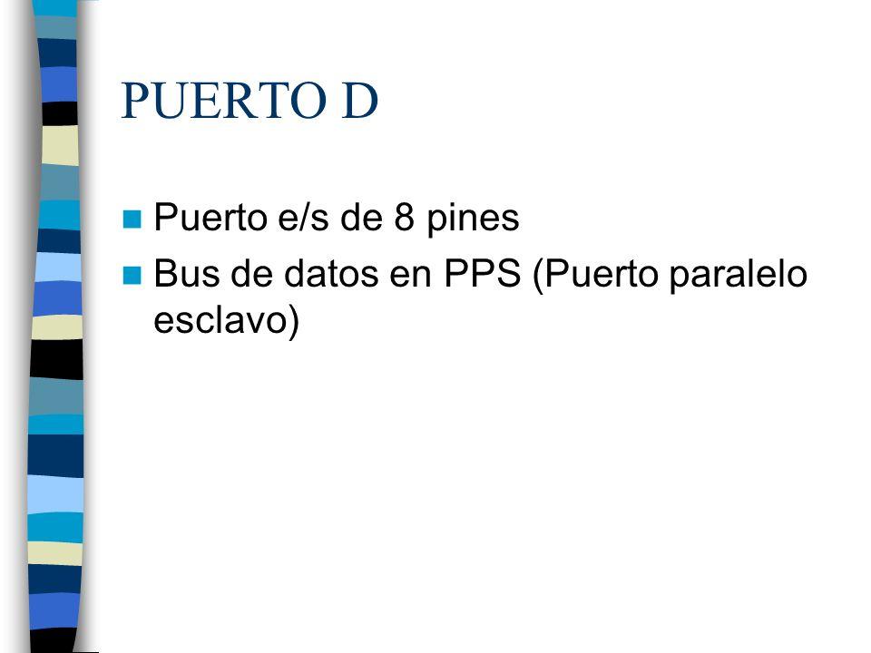 PUERTO E Puerto de e/s de 3 pines RE0 RE0 y AN5 y Read de PPS RE1 RE1 y AN6 y Write de PPS RE2 RE2 y AN7 y CS de PPS