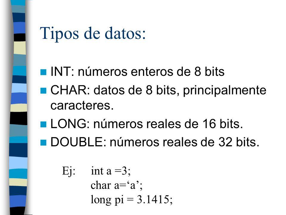 Arrays: Nos permiten definir bloques de datos del mismo tipo: int primos[] = {1,3,5,7}; int x[2][2]={{1,2},{3,4}}; x[1][2]=3; int a = primos[3]; char mensaje[] = hola mundo;