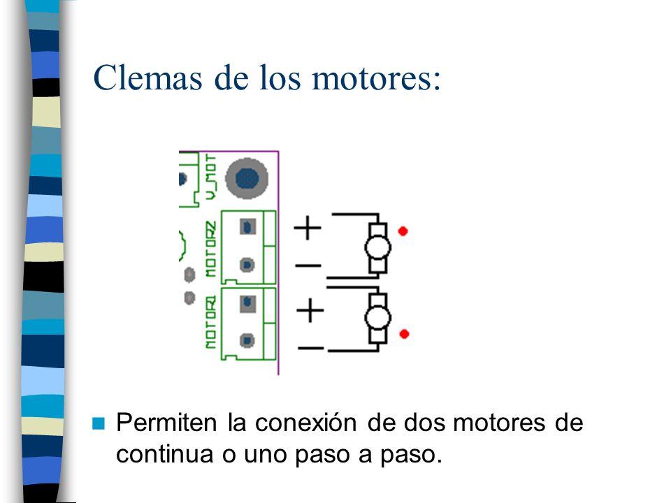 Clemas de los motores: Permiten la conexión de dos motores de continua o uno paso a paso.