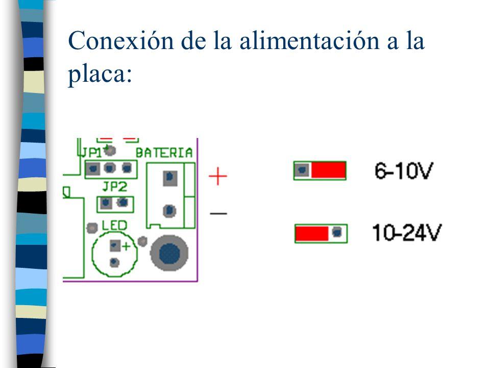 Conexión de la alimentación a la placa: