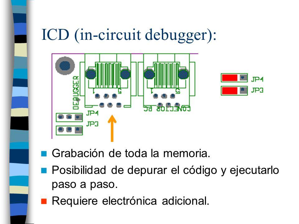ICD (in-circuit debugger): Grabación de toda la memoria.