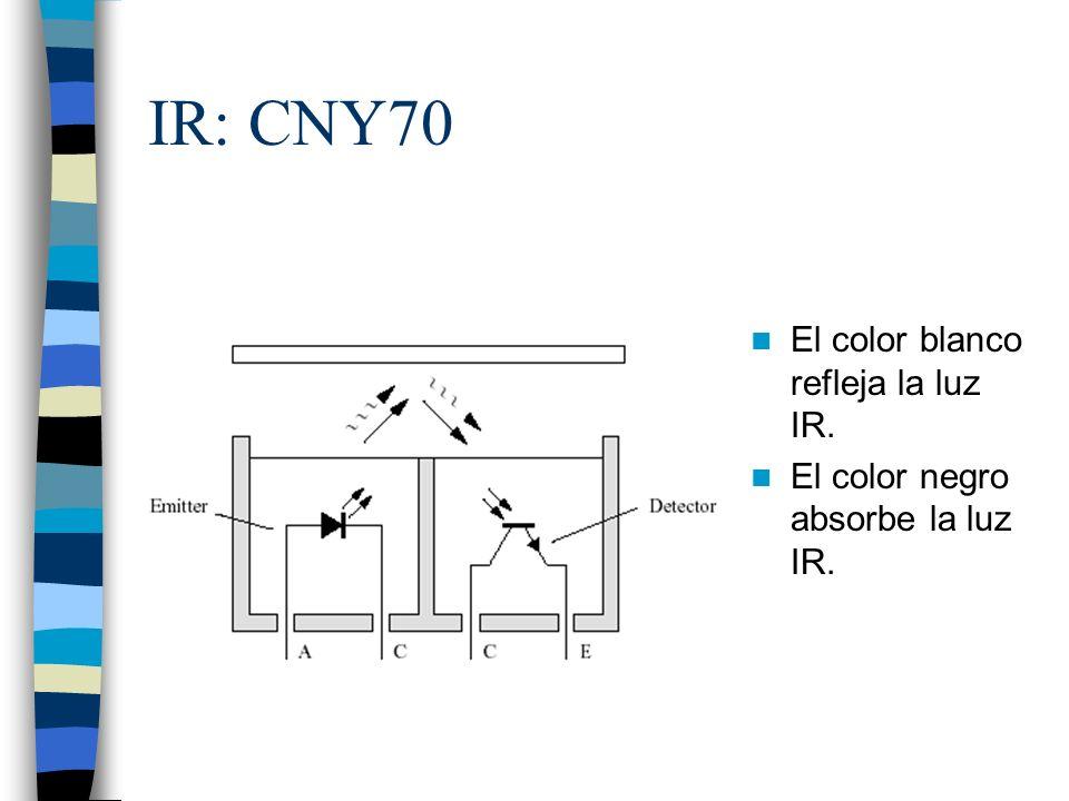 IR: CNY70 El color blanco refleja la luz IR. El color negro absorbe la luz IR.