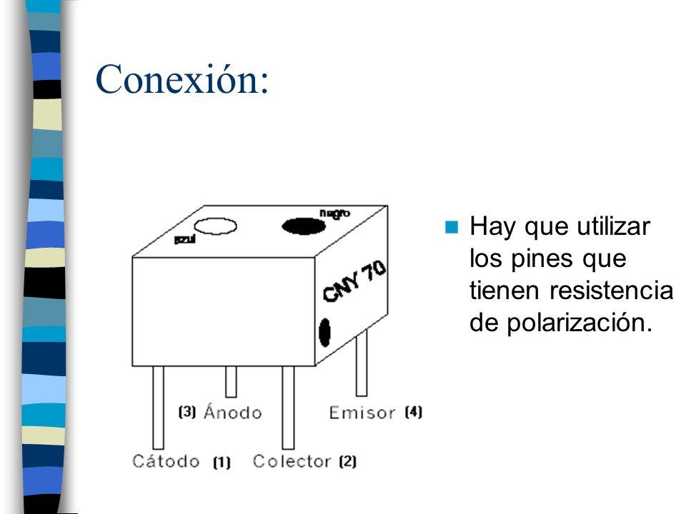 Conexión: Hay que utilizar los pines que tienen resistencia de polarización.