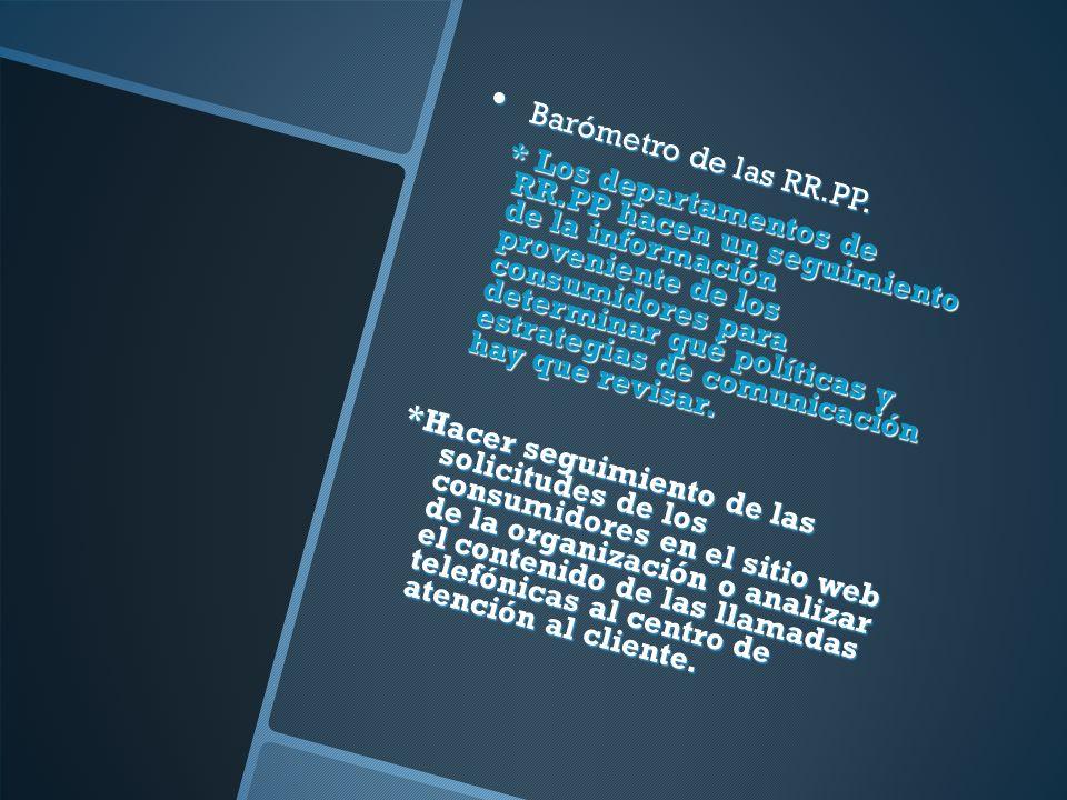 Barómetro de las RR.PP. Barómetro de las RR.PP. * Los departamentos de RR.PP hacen un seguimiento de la información proveniente de los consumidores pa