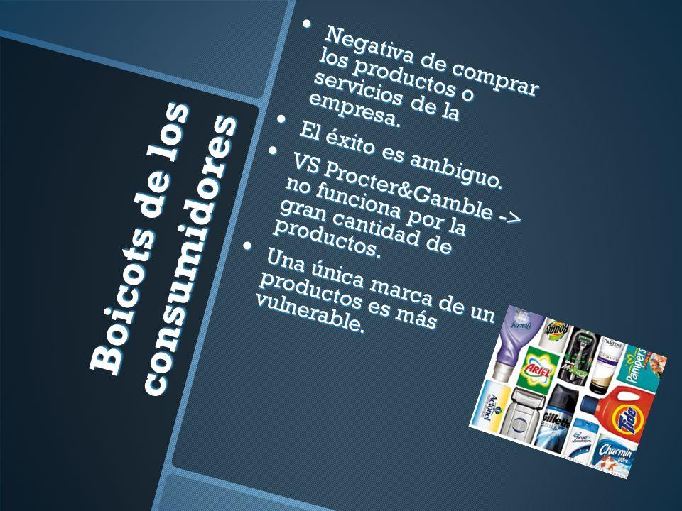 Boicots de los consumidores Negativa de comprar los productos o servicios de la empresa.