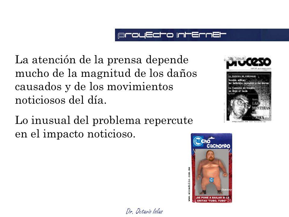 Dr. Octavio Islas La atención de la prensa depende mucho de la magnitud de los daños causados y de los movimientos noticiosos del día. Lo inusual del