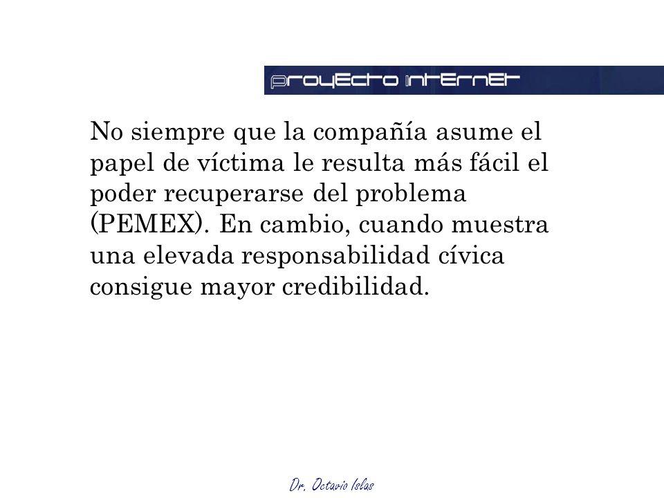 Dr. Octavio Islas No siempre que la compañía asume el papel de víctima le resulta más fácil el poder recuperarse del problema (PEMEX). En cambio, cuan