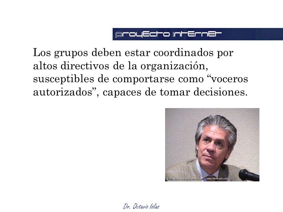 Dr. Octavio Islas Los grupos deben estar coordinados por altos directivos de la organización, susceptibles de comportarse como voceros autorizados, ca