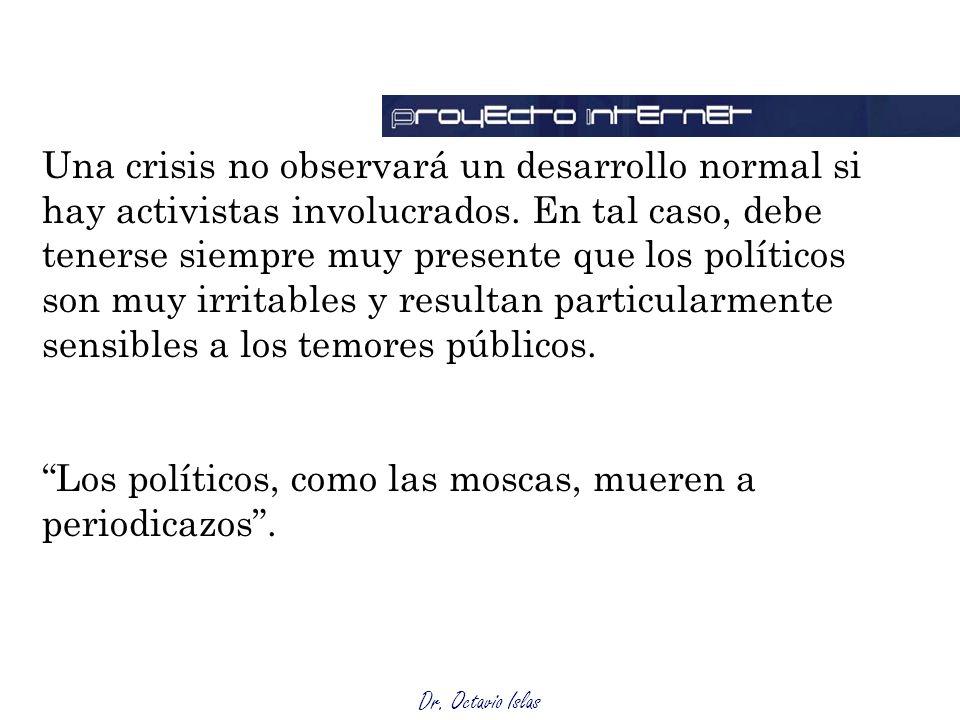 Dr. Octavio Islas Una crisis no observará un desarrollo normal si hay activistas involucrados. En tal caso, debe tenerse siempre muy presente que los