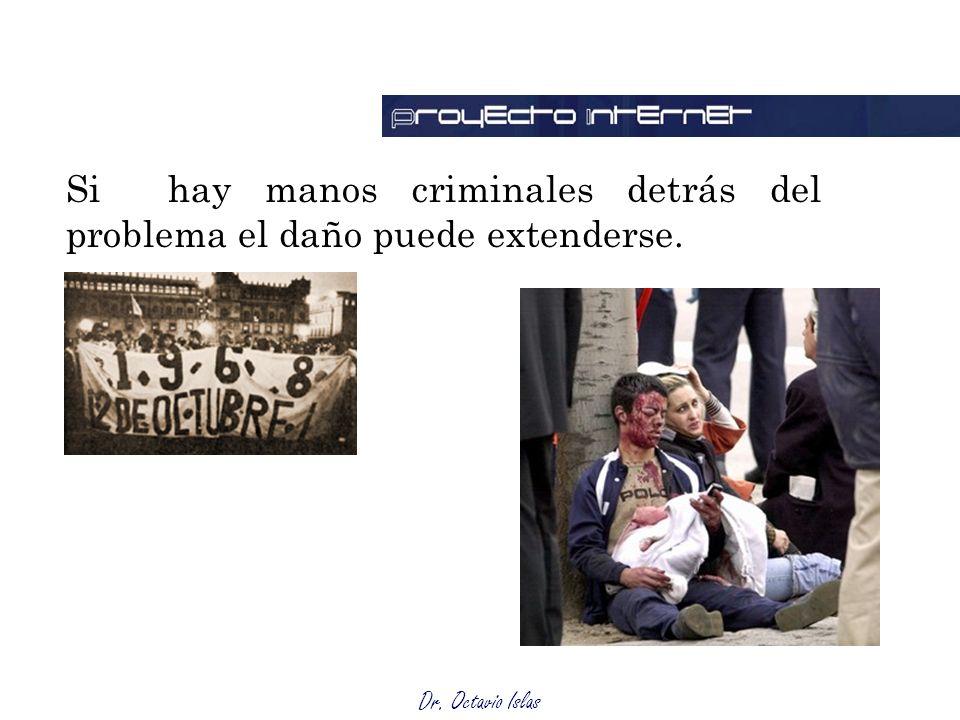 Dr. Octavio Islas Si hay manos criminales detrás del problema el daño puede extenderse.