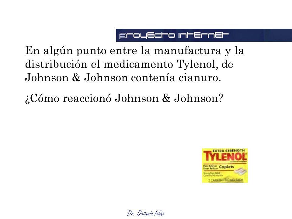 Dr. Octavio Islas En algún punto entre la manufactura y la distribución el medicamento Tylenol, de Johnson & Johnson contenía cianuro. ¿Cómo reaccionó