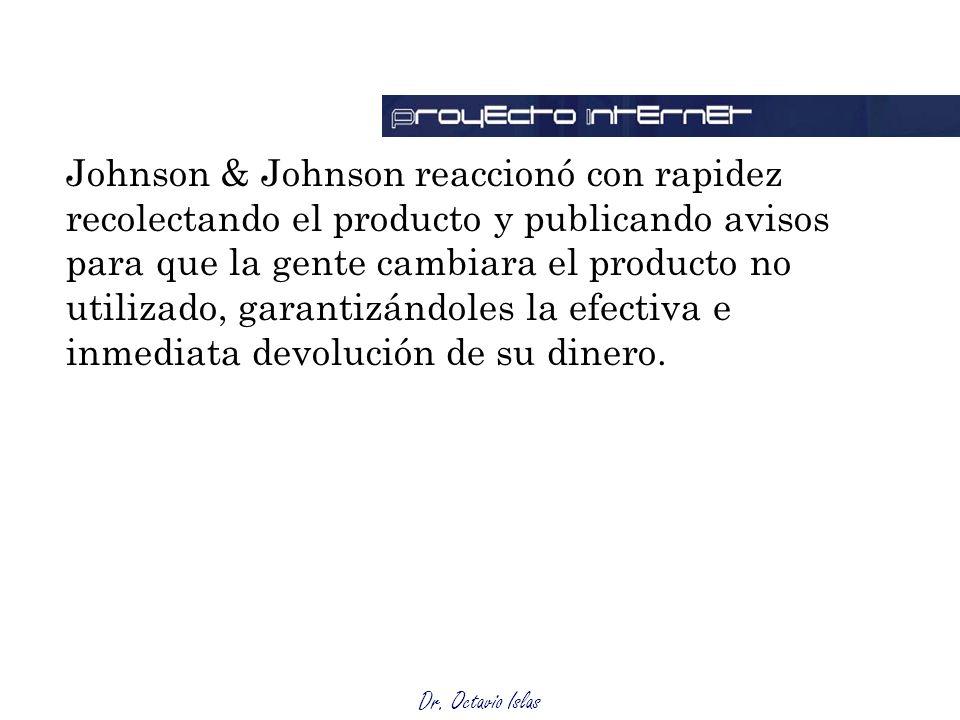 Dr. Octavio Islas Johnson & Johnson reaccionó con rapidez recolectando el producto y publicando avisos para que la gente cambiara el producto no utili