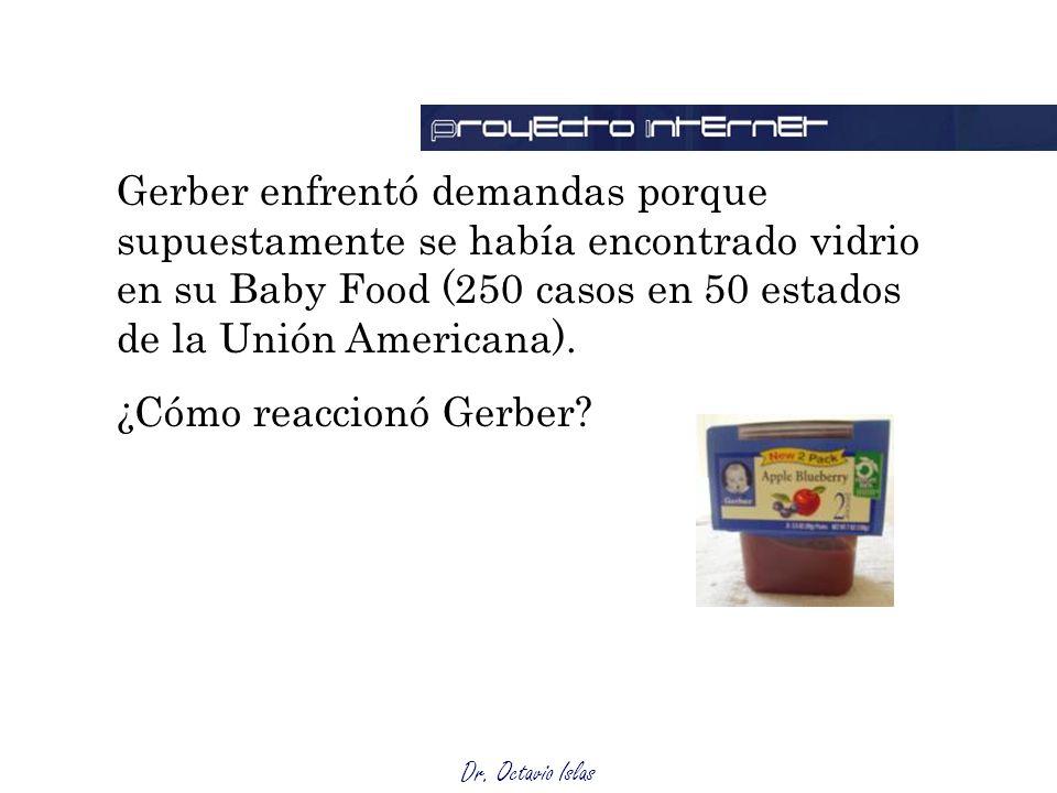 Dr. Octavio Islas Gerber enfrentó demandas porque supuestamente se había encontrado vidrio en su Baby Food (250 casos en 50 estados de la Unión Americ