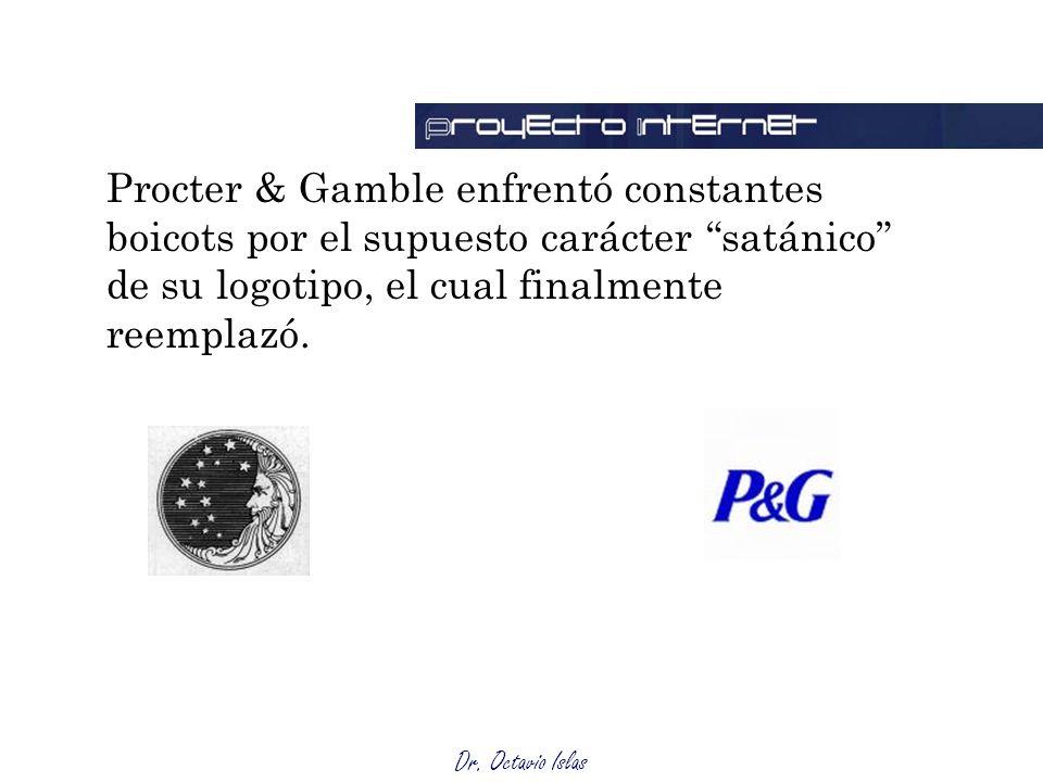 Dr. Octavio Islas Procter & Gamble enfrentó constantes boicots por el supuesto carácter satánico de su logotipo, el cual finalmente reemplazó.