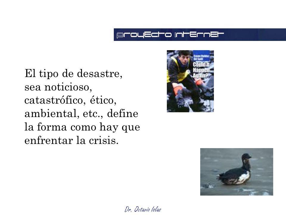 Dr. Octavio Islas El tipo de desastre, sea noticioso, catastrófico, ético, ambiental, etc., define la forma como hay que enfrentar la crisis.