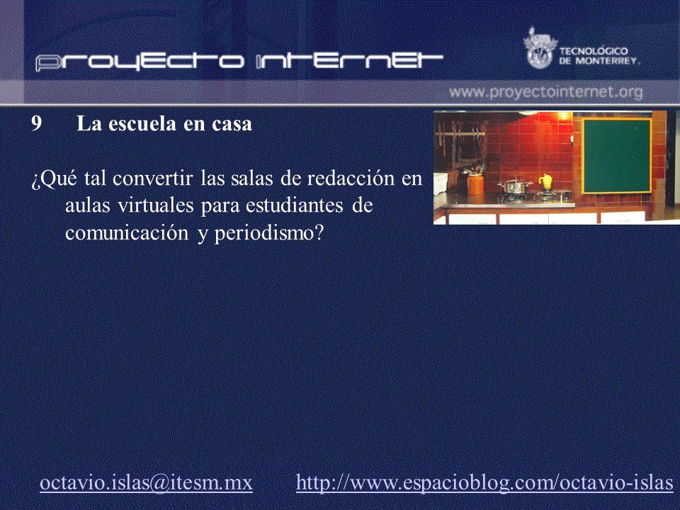 octavio.islas@itesm.mxoctavio.islas@itesm.mx http://www.espacioblog.com/octavio-islashttp://www.espacioblog.com/octavio-islas 9 La escuela en casa ¿Qu