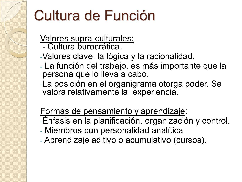 Cultura de Función Valores supra-culturales: - Cultura burocrática. - Valores clave: la lógica y la racionalidad. - La función del trabajo, es más imp