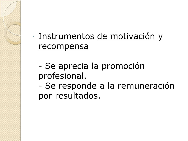 Instrumentos de motivación y recompensa - Se aprecia la promoción profesional. - Se responde a la remuneración por resultados.