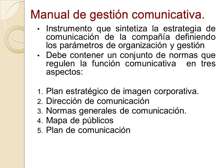 Manual de gestión comunicativa. Instrumento que sintetiza la estrategia de comunicación de la compañía definiendo los parámetros de organización y ges