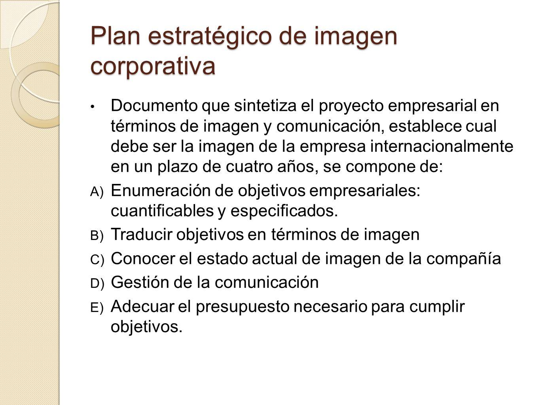 Plan estratégico de imagen corporativa Documento que sintetiza el proyecto empresarial en términos de imagen y comunicación, establece cual debe ser l