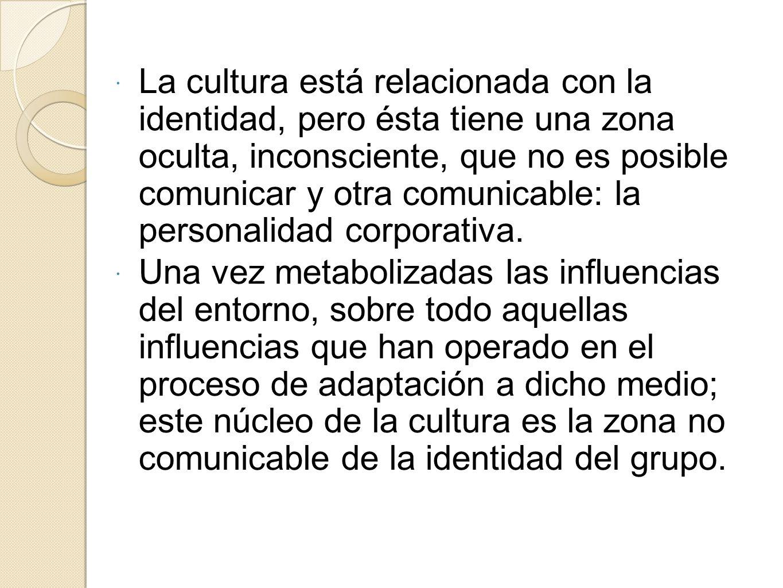 La cultura está relacionada con la identidad, pero ésta tiene una zona oculta, inconsciente, que no es posible comunicar y otra comunicable: la person