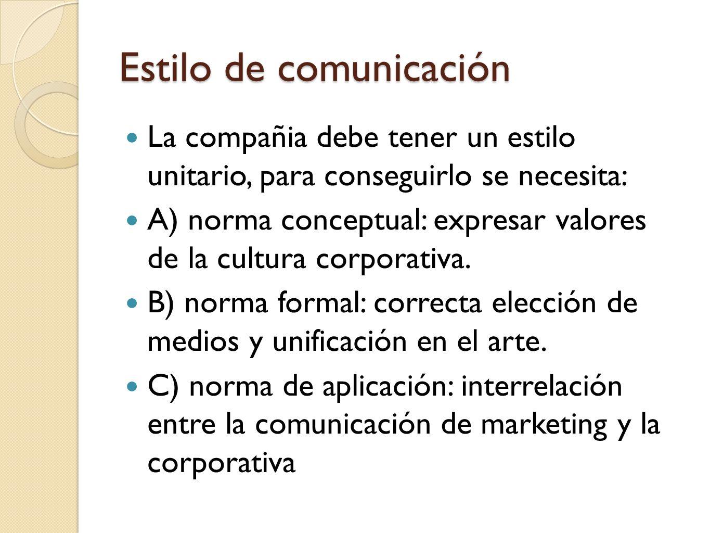 Estilo de comunicación La compañia debe tener un estilo unitario, para conseguirlo se necesita: A) norma conceptual: expresar valores de la cultura co