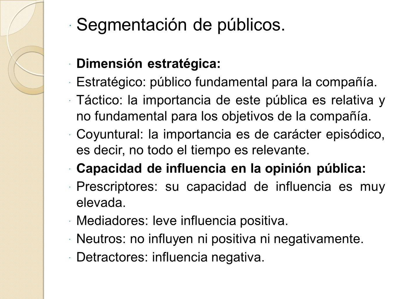 Segmentación de públicos. Dimensión estratégica: Estratégico: público fundamental para la compañía. Táctico: la importancia de este pública es relativ