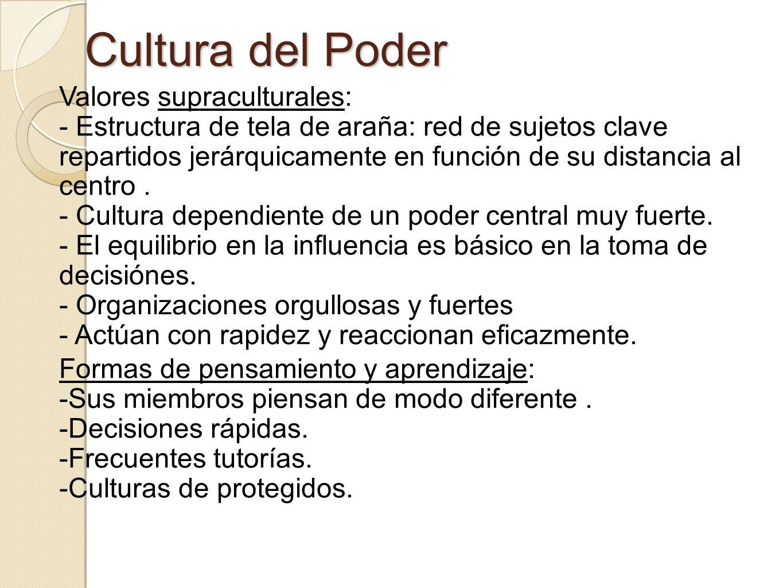 Cultura del Poder Valores supraculturales: - Estructura de tela de araña: red de sujetos clave repartidos jerárquicamente en función de su distancia a