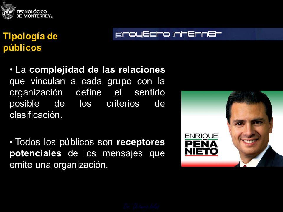 Dr. Octavio Islas La complejidad de las relaciones que vinculan a cada grupo con la organización define el sentido posible de los criterios de clasifi