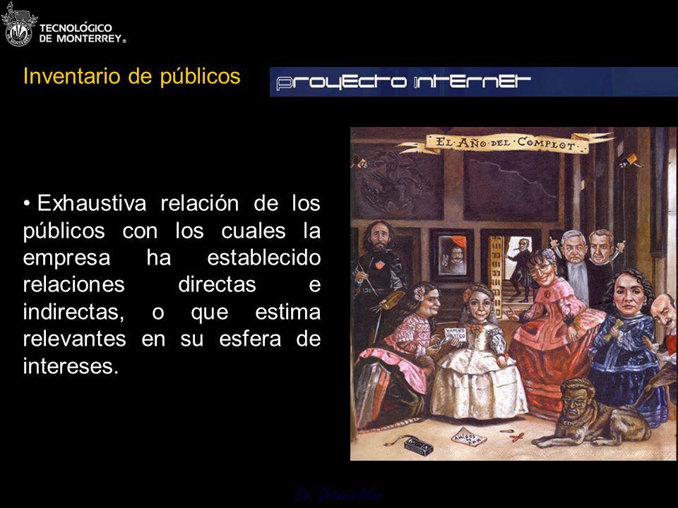 Dr. Octavio Islas Exhaustiva relación de los públicos con los cuales la empresa ha establecido relaciones directas e indirectas, o que estima relevant
