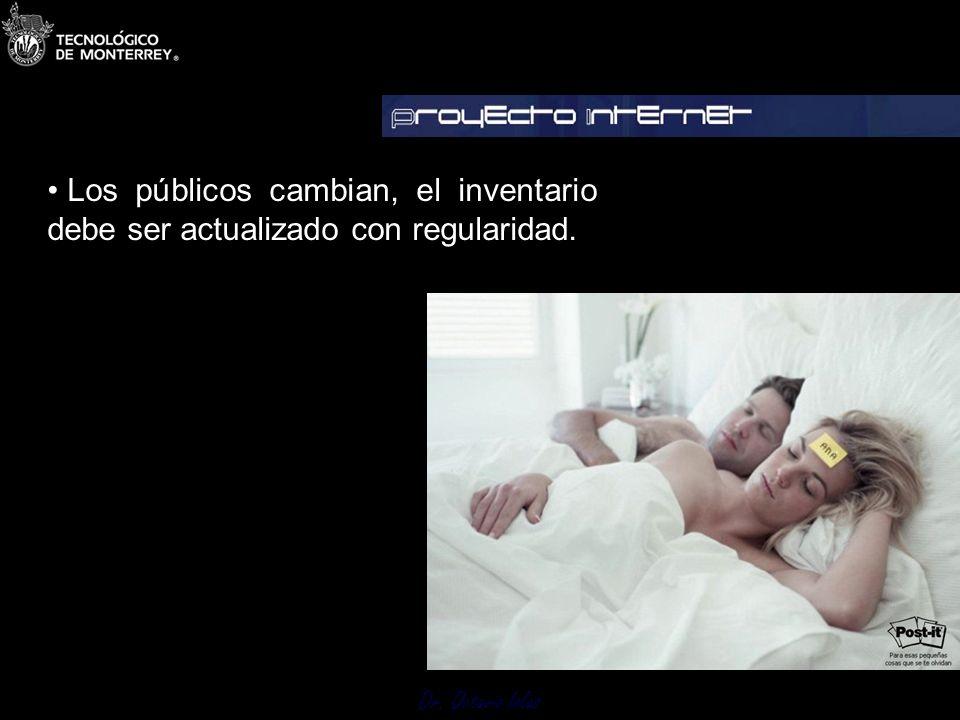 Dr. Octavio Islas Los públicos cambian, el inventario debe ser actualizado con regularidad. 3.1 Inventario de Públicos