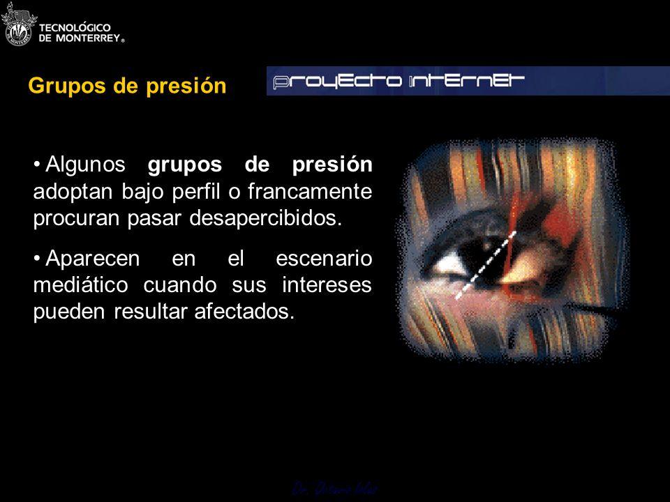 Dr. Octavio Islas Algunos grupos de presión adoptan bajo perfil o francamente procuran pasar desapercibidos. Aparecen en el escenario mediático cuando