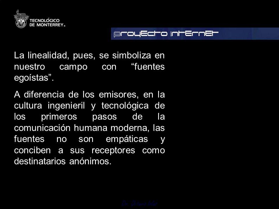 Dr. Octavio Islas La linealidad, pues, se simboliza en nuestro campo con fuentes egoístas. A diferencia de los emisores, en la cultura ingenieril y te