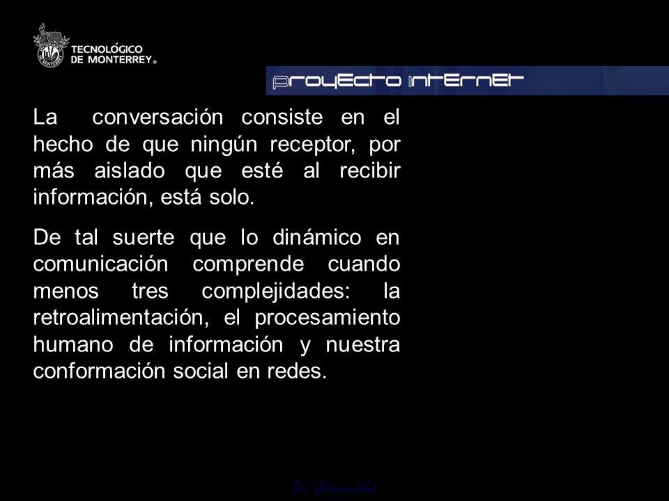 Dr. Octavio Islas La conversación consiste en el hecho de que ningún receptor, por más aislado que esté al recibir información, está solo. De tal suer