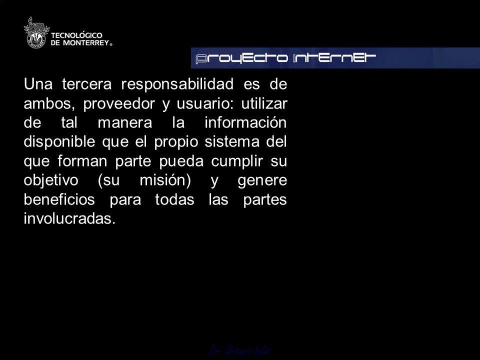 Dr. Octavio Islas Una tercera responsabilidad es de ambos, proveedor y usuario: utilizar de tal manera la información disponible que el propio sistema